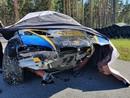FOTO: Lietuvietis Biķernieku trasē iznīcina BMW automašīnu