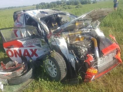 FOTO: Polijas ERČ rallija pirmajā dienā vairākas avārijas