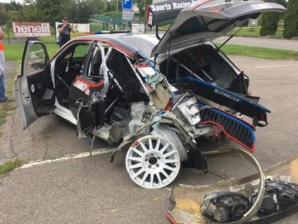 VIDEO: Grjazins Čehijas ERČ ieskrien tiltā un piedzīvo smagu avāriju