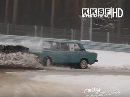VIDEO: Rallija supersprinta noslēdzošajā posmā sportisti cīnās ar sniegu