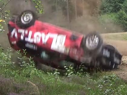 VIDEO: Minirallija 'Ropaži' viltīgajos ceļos vairākas ekipāžas piedzīvo avārijas