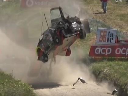 VIDEO: Rallija ekipāža Portugāles WRC piedzīvo divas iespaidīgas avārijas