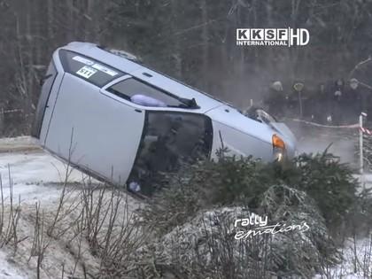 Vidzemes ziemas autosprinta kausā vienā līkumā vairākas avārijas un sagriešanās