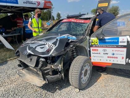 VIDEO: Lukjaņuks uzmet divus kūleņus, taču nosargā uzvaru WRC3 klasē