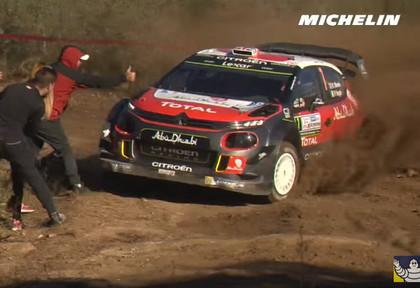 VIDEO: Skatītāji Argentīnas WRC rallijā turpina 'spēlēties ar uguni'