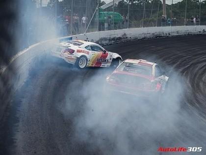 Turks izslēdz Blušu un amizanti uzvar trešajā 'Formula Drift' posmā (FOTO)